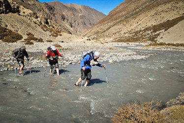 River Crossing in the Dolpo Region of Nepal.